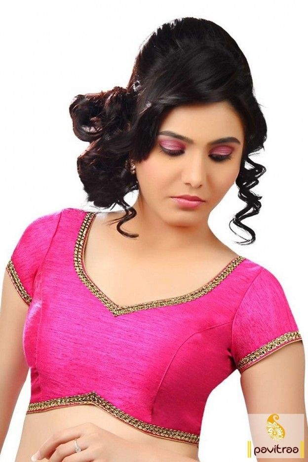 Add another beautifully designed pink color embroidery work blouse online collection at low cost. Purchase online trendy design blouse with free shipping service. #blouse, #designerblouse more: http://www.pavitraa.in/store/designer-blouse/