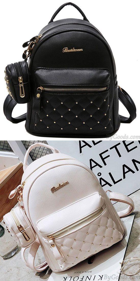 386852de135a Fashion PU Girl s Black White Small Bag Snap Rivets Mesh Lingge Mini  Backpack  backpack  Bag  rivet  rucksack