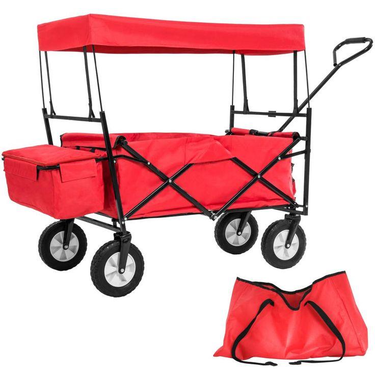 Chariot de Jardin Pliable Toit en Bâche + Sac de Transport rouge