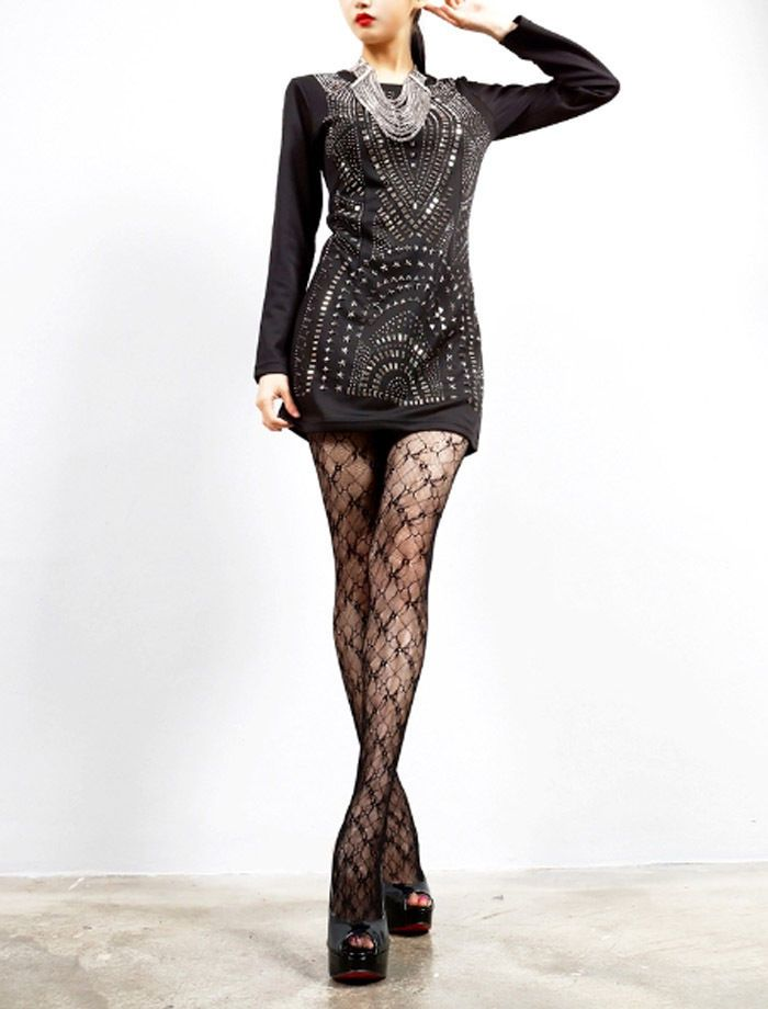 Long Sleeve Metal Geometric Silver Studded Black Mini Dress Party dresses S/M  #nobrand #studdeddress #Casual