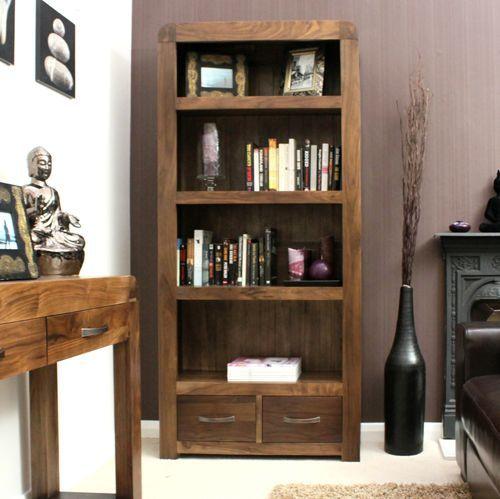 Shiro Walnut Large 2 Drawer Bookcase #wood #furniture #livingroom #lounge #bedroom #office #study #hallway #modern #contemporary #minimalist #interior #home #decor #interiorinspiration #bookcase #books #storage