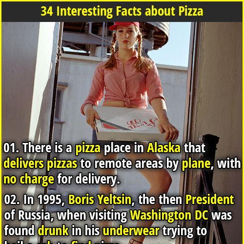 34 Interesting Facts about Pizza | 01. The Hawaiian Pizza was invented in Canada and is the most popular pizza in Australia, accounting for 15% of pizza sales. | 02. 3. Domino's sold as many pizzas during OJ Simpson's car chase as it did on Superbowl Sunday.