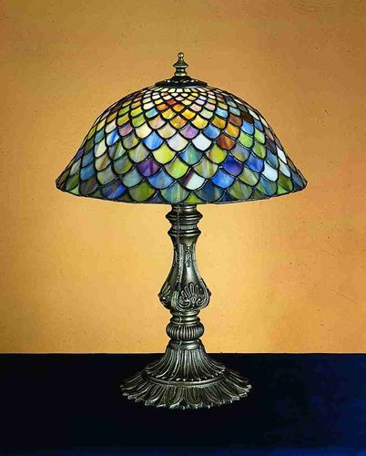17 inchh fish scale shell base accent lamp tiffany stained glassstained