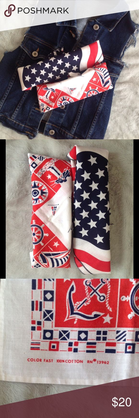 Vintage Americana Festival Bandana Bundle Gorgeous vintage bandana bundle, including an American flag print and a nautical print. Not Urban Outfitters (listed for exposure). Wear as scarf, headband, choker, bracelet or whatever you're in the mood for. Harry Styles photo added for ultimate style inspiration. Perfect for Coachella or other summer music festivals. Urban Outfitters Accessories Scarves & Wraps