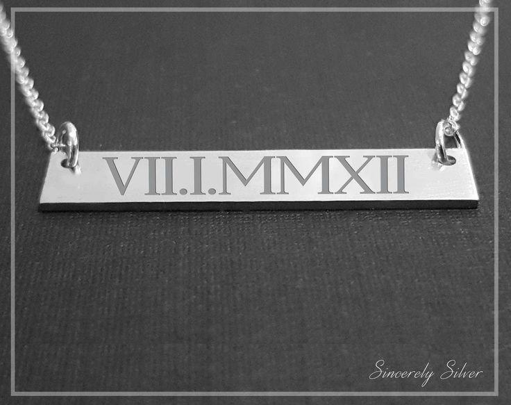 10th Anniversary Gift Necklace, Tenth Anniversary, 10 Year Anniversary, Roman Numeral Bar Necklace, Ten Year Anniversary