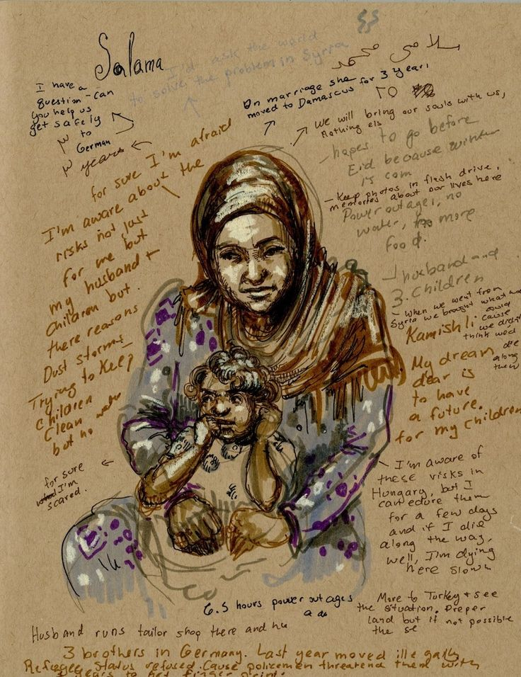 Molly Crabapple went to the Domiz refugee camp in Iraqi Kurdistan to record the stories of Syrians forced from their homes by war and suffering.