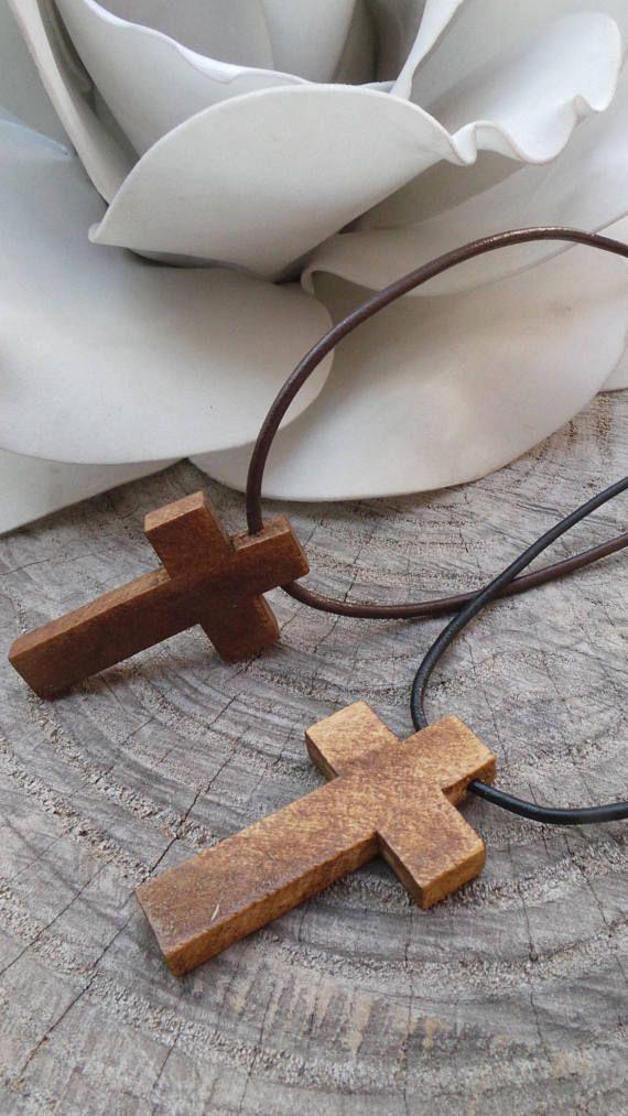 Mens wooden cross necklace. Cross necklace men. Mens cross
