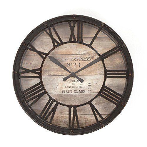 Horloge pendule murale style vintage - diamètre 39 cm - Coloris marron cuivré effet vieilli Atmosphera http://www.amazon.fr/dp/B011XNE92W/ref=cm_sw_r_pi_dp_D54Wwb191MGQV