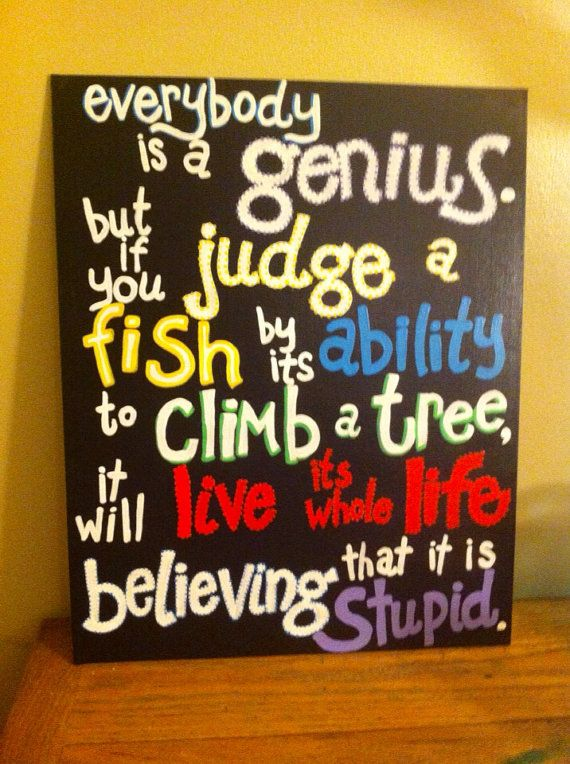 Einstein Painted Quote Canvas large by coolzeens on Etsy, $38.00