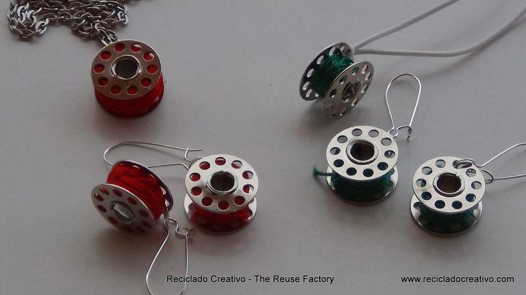 Earrings and a Necklace made with sewing machine bobbins   Pendientes y collar hechos con carretes de hilo de máquina de coser