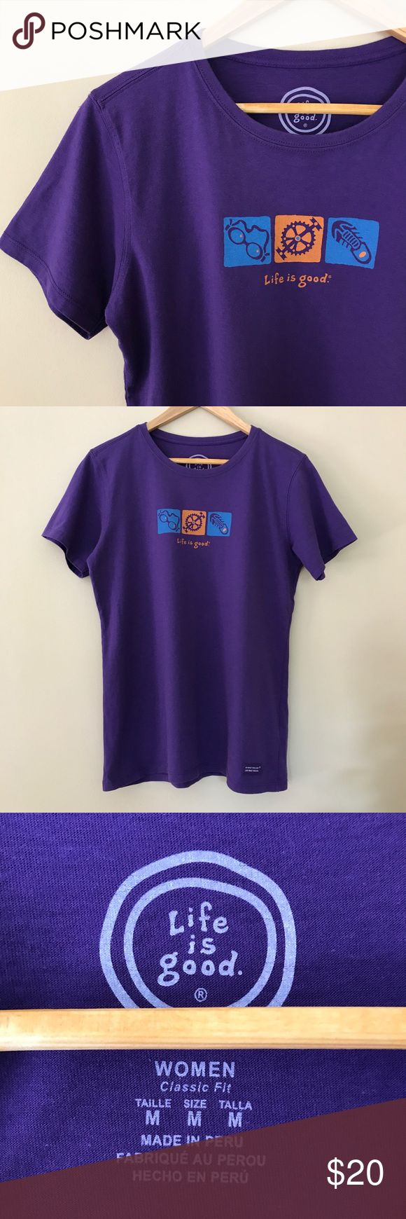 NWOT - Life is Good Purple Triathlon Shirt ☮️ NWOT - Brand New without Tags, never worn!  Life is Good Purple T-shirt. ☮️ Triathlon logo on front of shirt (swim, bike, run).  Size Women's Medium.  Official Merchandise Purchased from 2016 Iron Man Race!  ⭐️30% OFF BUNDLES OF 2 OR MORE ITEMS!⭐️ Life Is Good Tops