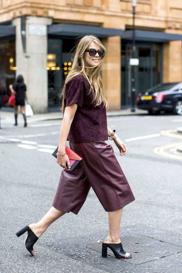 suede burgundy top, leather culottes & mule heels