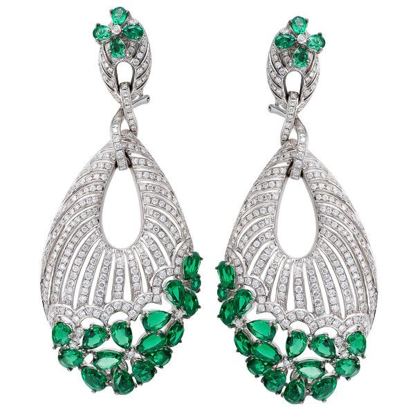 ASTURIAS Earrings in 18K White Gold with 5.46CT White Diamonds and 18.62CT Emeralds. Absolutely gorgeous !