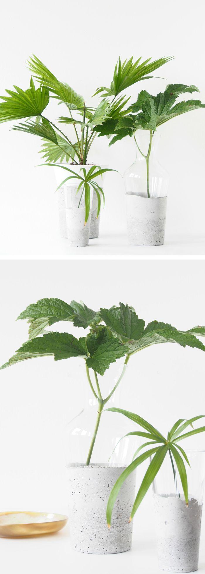 DIY Concrete & Glass Vases: