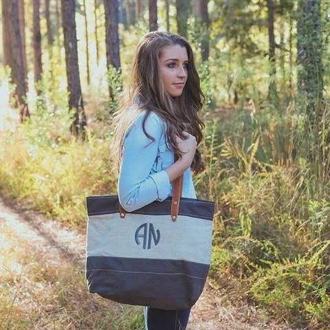 Leather And Linen Monogram Tote Bag | Three Hip Chicks