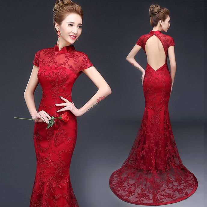 Shop elegant silk cheongsam, traditional Chinese red bridal dresses, sexy modernize Qipao from www.ModernQipao.com. Save 6% by share our products. Burgundy red open back trailing prom dress mandarin collar Chinese bridal wedding cheongsam