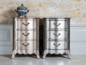 Get an antiqued look when painting furniture painted furniture ideas - Furniture Metallic Dressers Bedside Tables Metals Furniture Metals