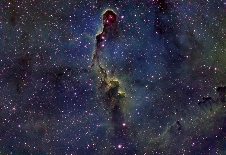 La Nebulosa IC 1396B (Trompa de Elefante), esta impresionante nebulosa de emisión en la constelación de Cefeo. Energetizada por la brillante estrellas central que se puede ver aquí, esta región de formación de estrellas se extiende a través de cientos de años luz, cubriendo unos tres grados en el cielo a cerca de 3.000 años luz del planeta Tierra.  Imagen: Manuel Fernández
