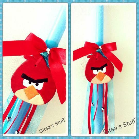 Handmade.. Easter Candle.. Angry Bird..
