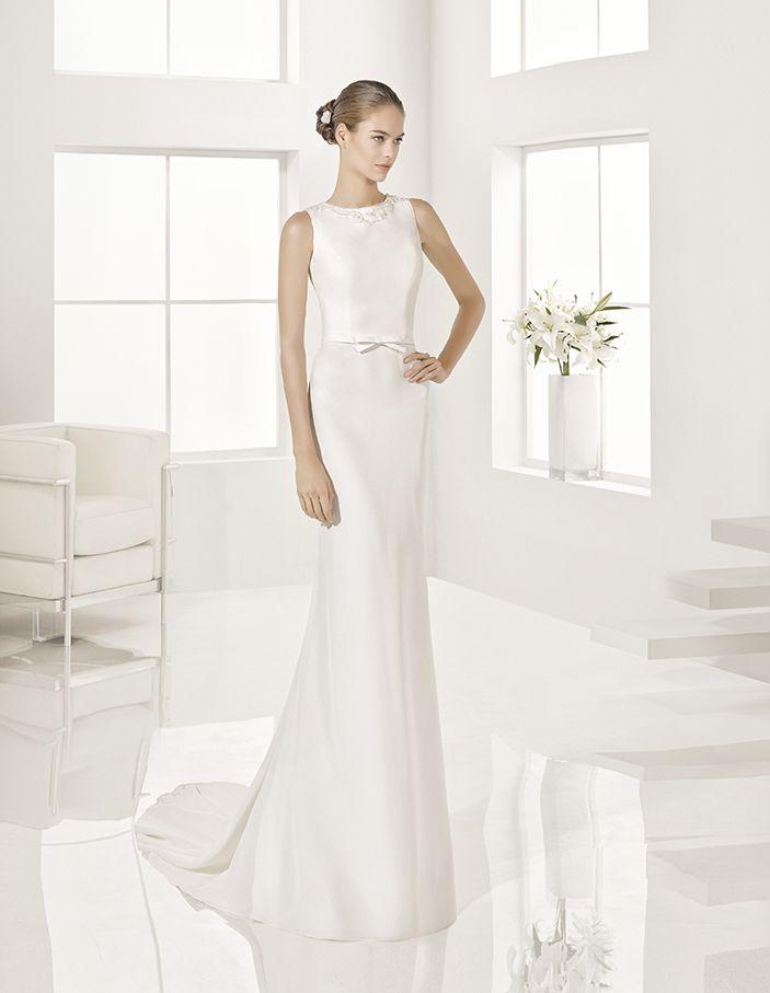 Grecia - Beaded crepe dress, in natural.