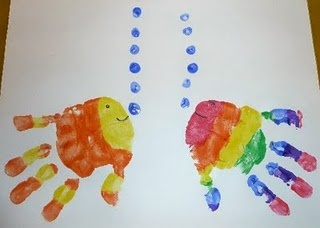 Ocean Theme: Easy Handprint Fish Could do with the rainbow fish book