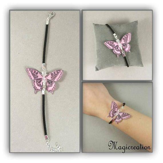 bracelet papillon soie rose et argenté sur cordon de suédine