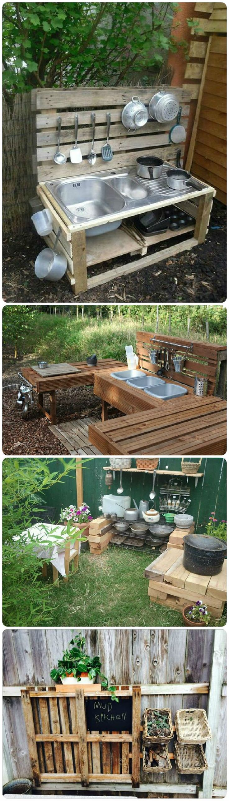Mud kitchen (also known as an outdoor kitchen or mud pie kitchen) is one of the best resources in DIY projects for kids to play outside as kids playhouse.