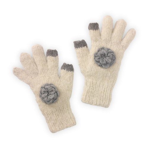 """The luxurious way to keep the chill away and stay """"connected"""" by freeing up your fingers for texting and scrolling on your favorite gadget. These pretty texting gloves are made from incredibily soft and luxurious Suri alpaca, which rivals cashmere in softness and warmth. Extra long cuff for warmth and pretty rosette detail adds a glamorous finishing touch."""