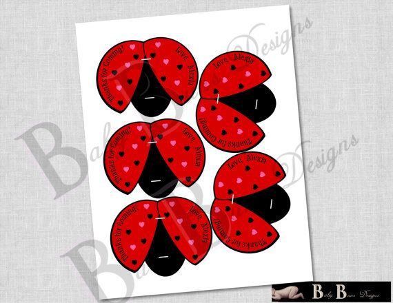 Personalized Lady Bug Lollipop Party Favors- Printable or Shipped