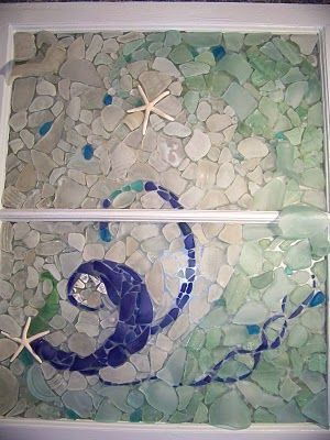 beach glass and resin. Lay out design on window. Glue each piece down with 2 part epoxy. Then pour liquid resin over and let set.