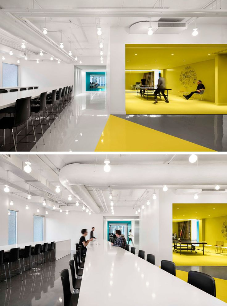 This contemporary and open-concept office design is mostly white, however bold pops of color have been used to define various areas throughout the interior. #Workplace #OfficeDesign #InteriorDesign #Office #Colors #Yellow