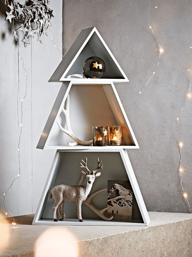 Frosted Grey Christmas Tree Shelves Christmas