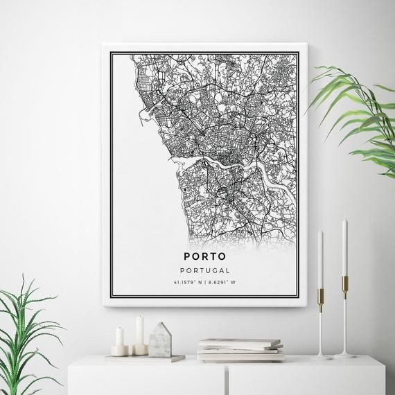 Porto Map Canvas Print City Maps Wall Art Portugal Gift Etsy In 2020 Map Canvas Print Map Wall Art Map Canvas