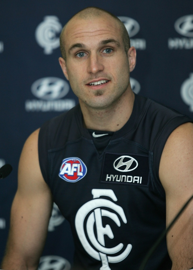 Chris addresses the media during his first official appearance as a Carlton player.