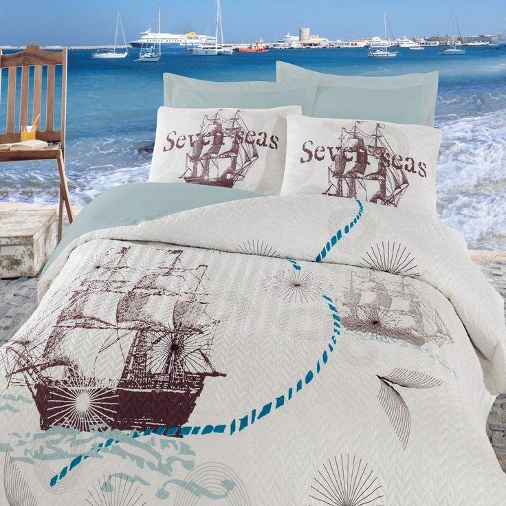 Cottonbox Ranforce Çift Kişilik Complete Set Seven Seas Mint-Maritime