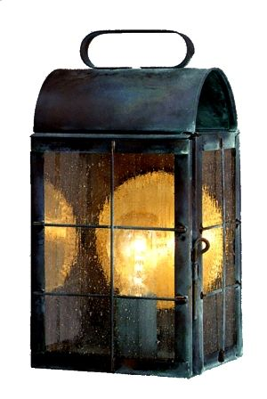 New Haven Colonial Wall Lantern by Lanternland: Shown here in our vibrant Verdi Green finish with Seeded glass, is a classic colonial lantern made by hand in America from pure copper or brass and is designed to last for decades. Available in your choice of four sizes, seven unique all-natural finishes and four classic styles of glass, this versatile lantern works well with traditional and colonial styles homes as well as cabins and lake homes.