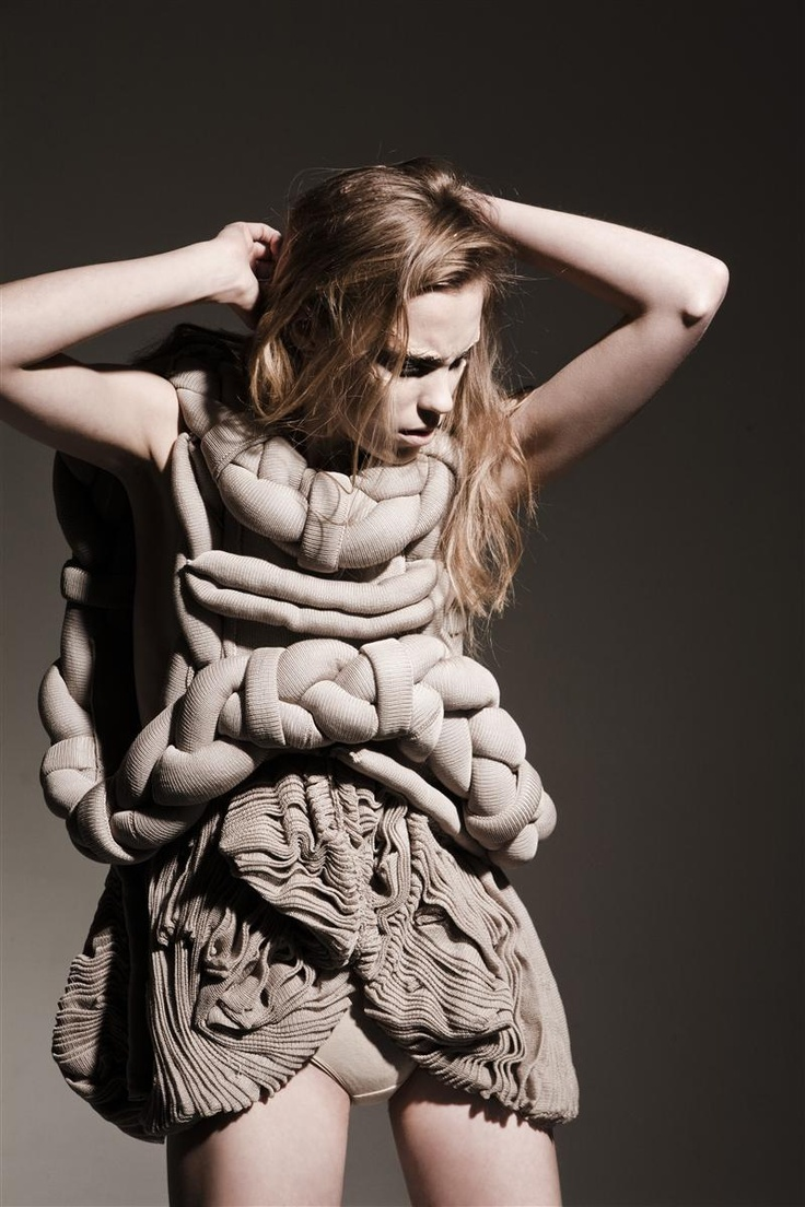 Sculptural Knitwear with patterned textures and three-dimensional braided construction // Motohiro Tanji