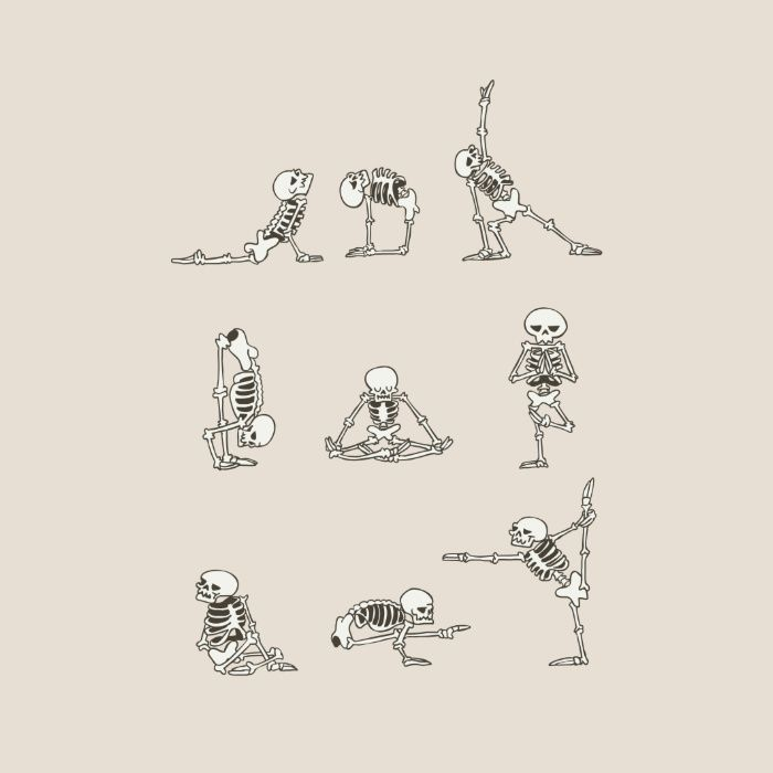 Skeleton Yoga, Huebucket on Society6 Browse more curated illustration So Super Awesome is also on Facebook, Instagram and Pinterest