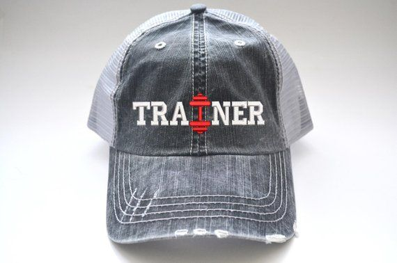 dcd46bf8e77 Fitness Trainer Gift Dumbbell distressed Women s Trucker Hat Unisex Hat Men  Personalized Gift Embroidered Cap Mesh Cap Embroidered Cap