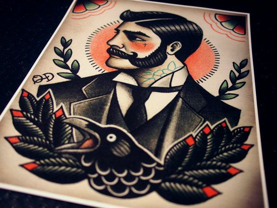 Viktorianischen Gentleman Tattoo Flash von ParlorTattooPrints