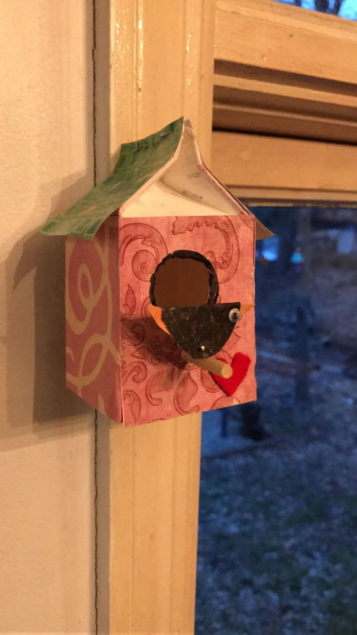 Recycling milk cartons from the cafeteria to make birdhouses. #recyclingmilkcartons