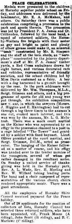 World War One Hornsby Peace Celebrations _ The Cumberland Argus and Fruitgrowers Advocate (Parramatta, NSW : 1888 - 1950), Saturday 26 July 1919, page 8