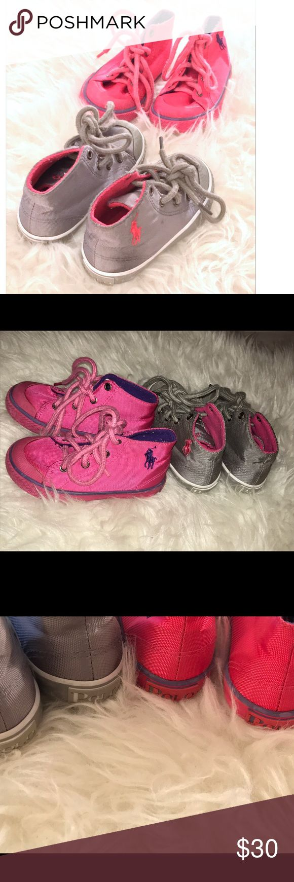 2 pairs of Size 6 Girl's High Top Sneakers 2 Sneakers in size 6 toddlers. One gray, pink and white. The other is pink and purple. Excellent condition. Bundle and save! Shoes Sneakers