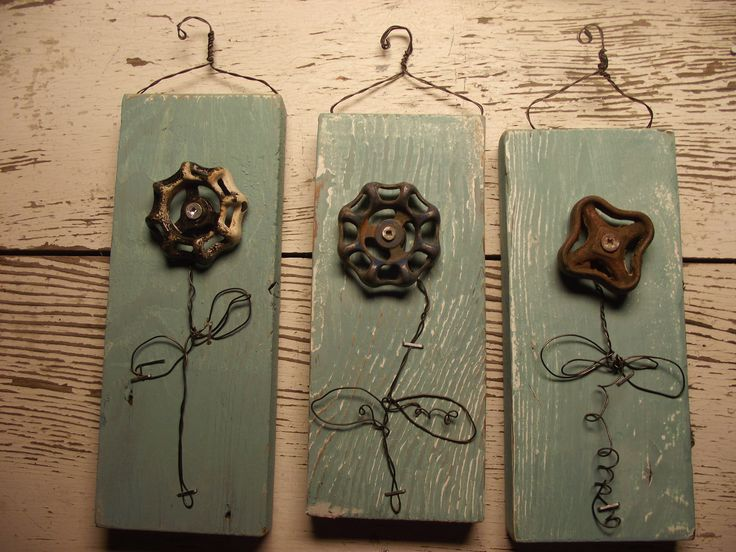 Mixed media Wall Flower  Wire Art with Vintage Water Faucet knob.