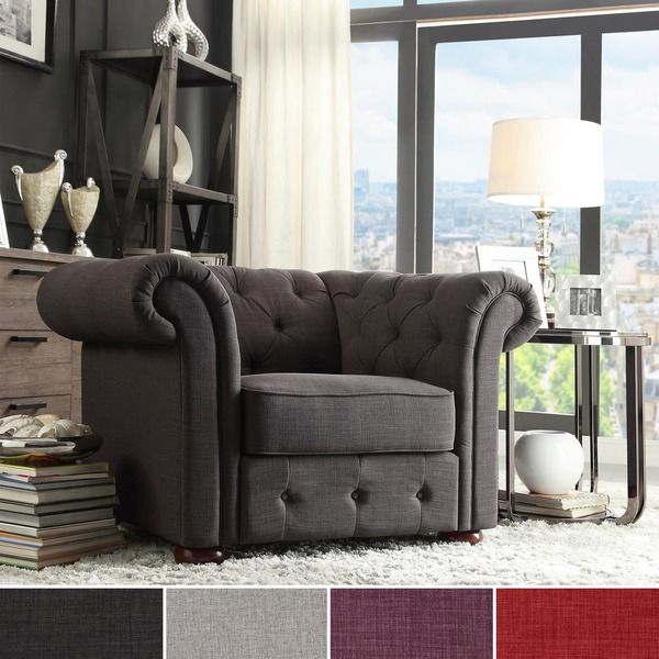 TRIBECCA HOME Knightsbridge Linen Tufted Scroll Arm Chesterfield Chair - Overstock Shopping - Great Deals on Tribecca Home Living Room Chairs