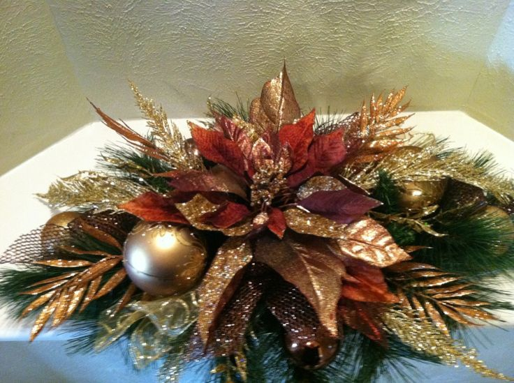 Bronze & Gold Christmas Table Centerpiece made with Silk Flowers - Christmas Designs by Greatwood Floral Designs.