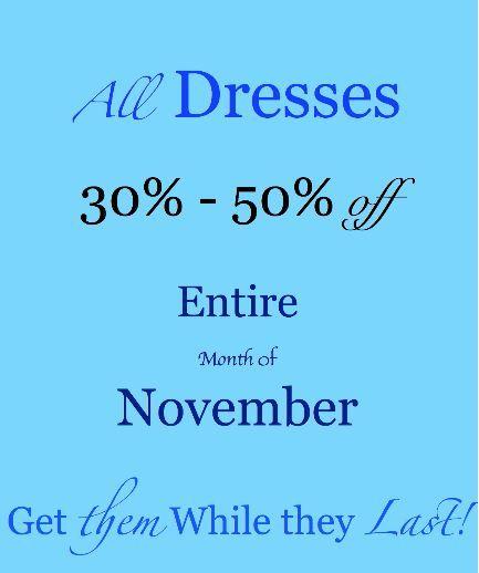 All Dresses! 30%-50% off! LaTiKa Fashions Westmount Shopping Centre! London, Ontario  www.latikafashions.ca