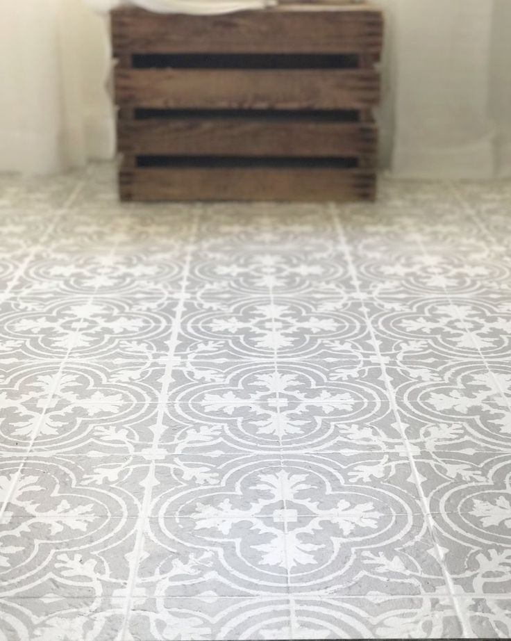 how to paint your linoleum or tile floors to look like patterned cement tile tutorial - Paint The Floor