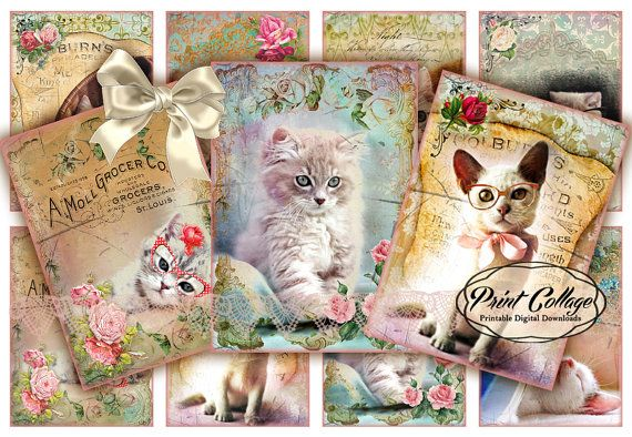 Cats  Digital Collage Sheet Designed Gift Tags and by PrintCollage