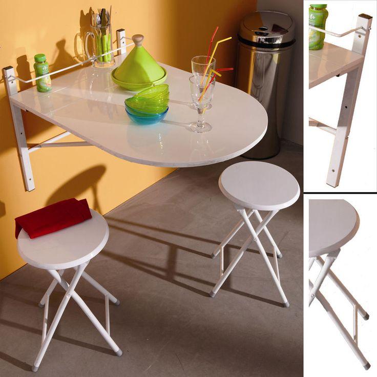 Wand - KLAPPTISCH inkl. 2 Klapp - HOCKER weiß Wandtisch Klappstuhl Küchentisch in Möbel & Wohnen, Möbel, Tische | eBay!